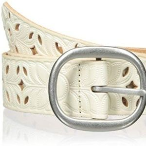 Fossil White Leather Perforated Floral Belt Small